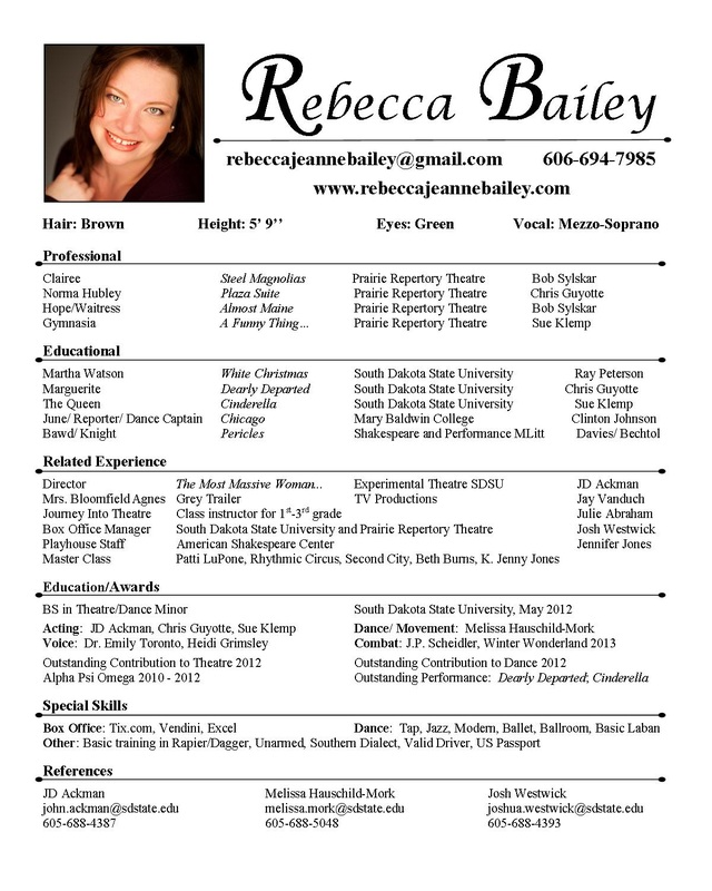 Example of acting resume